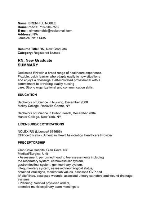 Professional Summary Exles For Nurses by Rn New Graduate Summary Cakepins Nursing Nursing