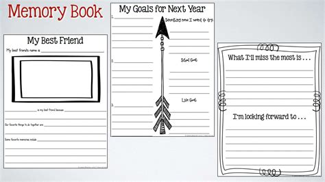memory book templates end of the year memory book activities