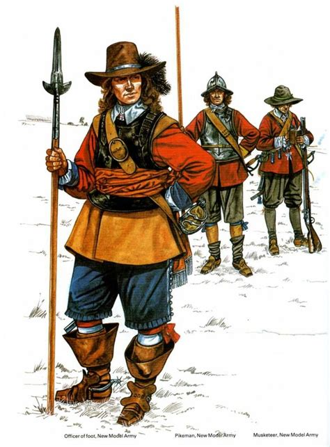 modern civil war officer musketeer and pikeman new model army 1600 tal army civil wars and
