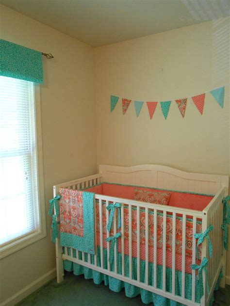 aqua and coral crib bedding coral and turquoise crib bedding maybe someday