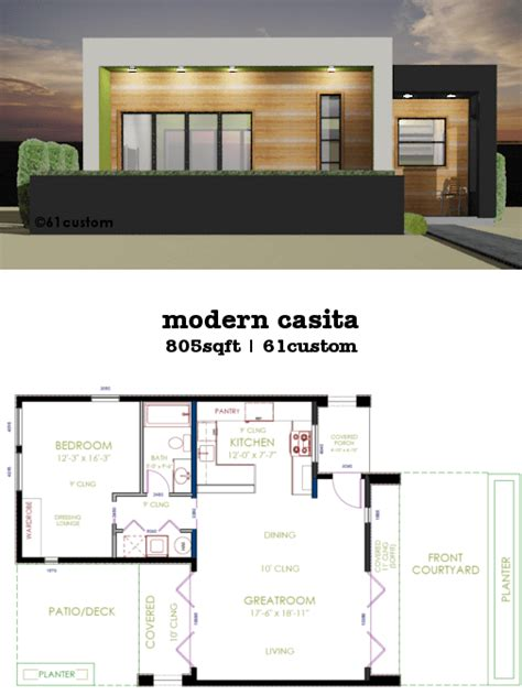 custom modern home plans casita plan small modern house plan 61custom