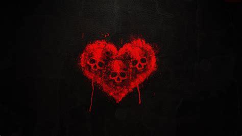 skull heart art dark red wallpaper