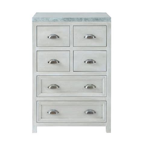 meuble cuisine bois et zinc meuble bas de cuisine en bois d 39 acacia gris l 60 cm zinc