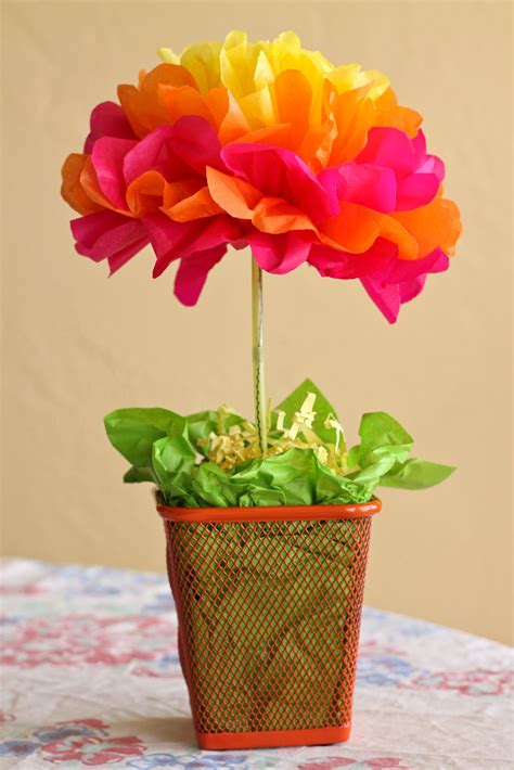 paper centerpieces for tables one crafty mama easy tissue paper flower centerpieces