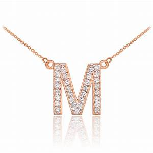 14k rose gold letter quotmquot initial diamond monogram necklace With diamond initial letter necklace