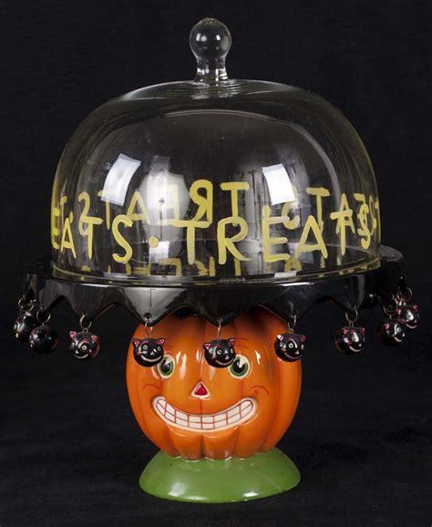 dept  halloween vintage pumpkin black cats footed