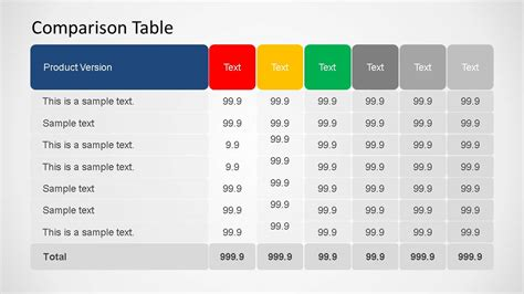 powerpoint table template 3d comparison table powerpoint template slidemodel