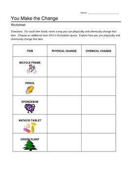chemical  physical  worksheet middle school