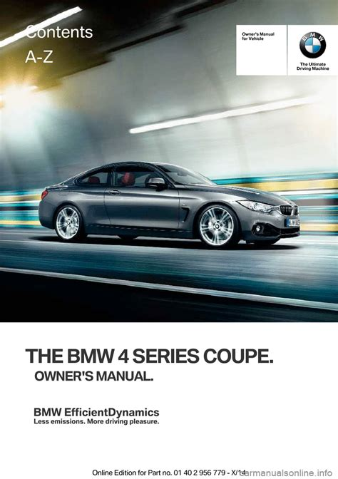 Bmw 4 Series Coupe 2014 F32 Owner's Manual