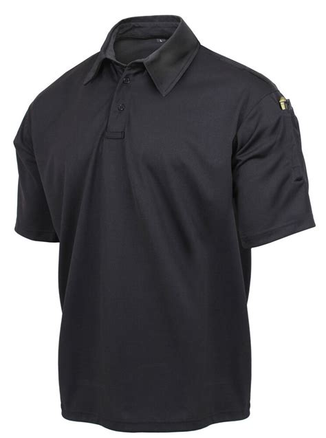 tactical black polo shirt performance moisture wicking