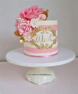 35 Trendy Glamorous Gold Cakes two pink canaries