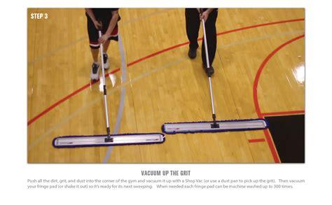 gym floor cleaning step  push   dirt  grit