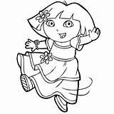 Dora Coloring Explorer Pages Simple Children Tv sketch template