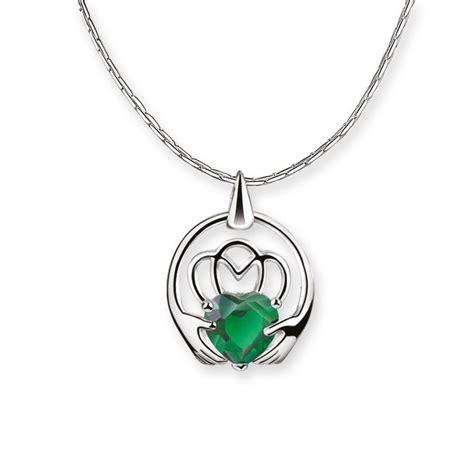 newbridge silverware maureen  hara claddagh pendant green