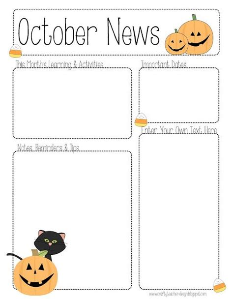 october newsletter ideas october newsletter template for all grades teaching