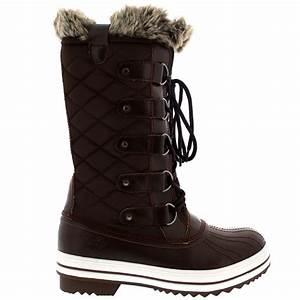 Womens Snow Boot Nylon Tall Winter Snow Waterproof Fur ...