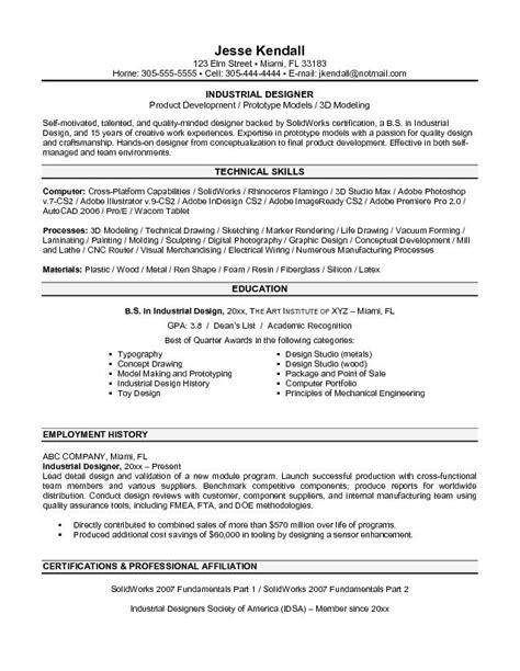 free industrial designer resume exle