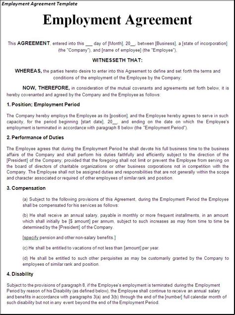 helpful template sample  employment agreement featuring