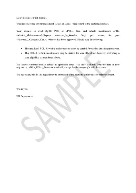 allowances pol  vehicle maintenance letter  company