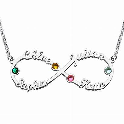 Infinity Necklace Silver Birthstones Personalized Four Ornate