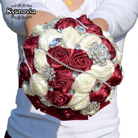 Kyunovia 6styles Crystal Burgundy Wedding Bouquet De