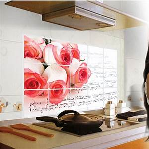 kitchen tile wall stickers pink rose flower anti oil smoke With kitchen cabinets lowes with no smoking stickers