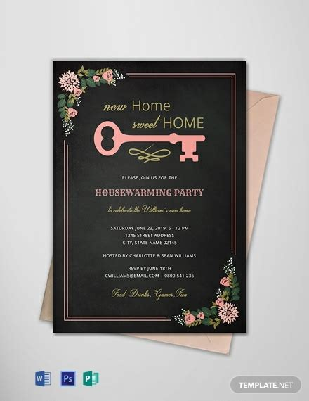 chalkboard housewarming invitation template word