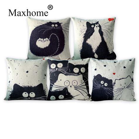 white sofa throw pillows black and white cat family cushion decorative pillows home