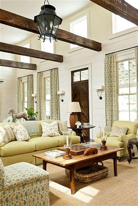 cozy living room designs  exposed wooden beams