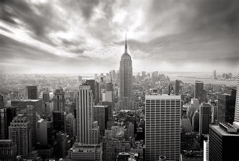 vue de new york en noir et blanc papier peint mural scenolia
