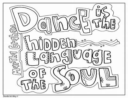 Dance Coloring Pages Quotes Sheets Quote Doodles