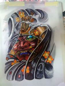 Samurai mask tattoo | Hand Drawn Tattoo Design Of A ...