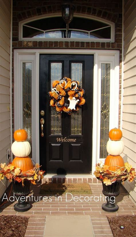 Door Decoration - adventures in decorating pumpkin topiaries fall winter