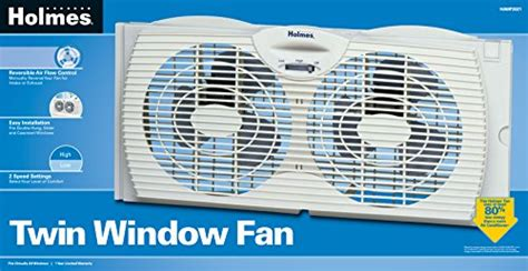 holmes twin window fan with comfort control thermostat holmes dual blade twin window fan white 733556965829