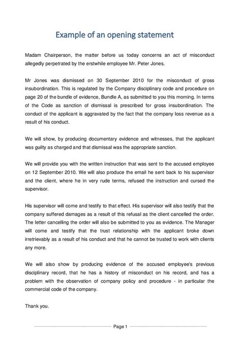 opening statement template exle of an opening statement document labour south africa pdf