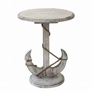 Distressed White Anchor Nautical Rope Accent Table
