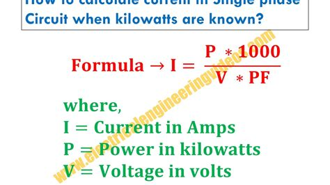 Formula Calculate Current Single Phase Circuit Youtube