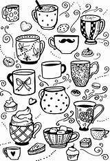 Coloring Coffee Cup Rocks Adult Doodle Mugs Cups Colouring Coloringnori Bullet Journal Doodles sketch template