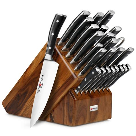 wusthof classic ikon knife block set ultimate  piece acacia cutlery