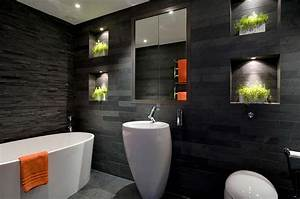 20 exquisite bathrooms that unleash the beauty of black With carrelage adhesif salle de bain avec globe a led