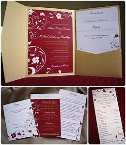 red and gold tropical flower pocketfold invitations and With dark red and gold wedding invitations