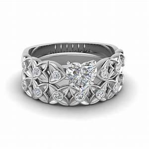 heart shaped floral bezel set diamond wedding ring set in With heart wedding ring sets