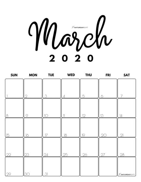 cute  printable march  calendar saturdaygift
