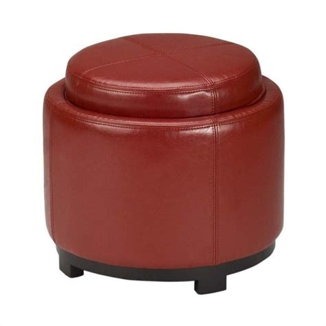 round red leather ottoman safavieh chelsea round tray leather ottoman in red hud8232r