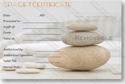 simple day   spa gift certificate template