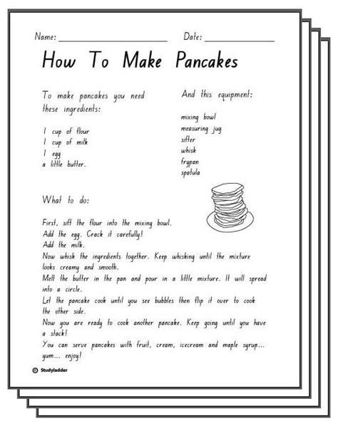 pancakes response sheets studyladder