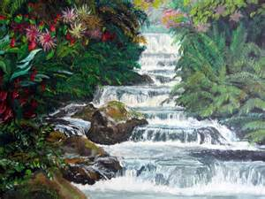 Tropical Waterfall Paintings