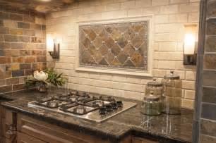 rustic kitchen backsplash tile modern yet rustic this hearth style backsplash features slate subway and pillowed travertine