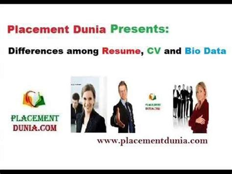 differences between resume cv and bio data by placement