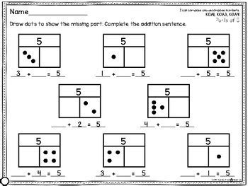 part part  missing addend common core math work
